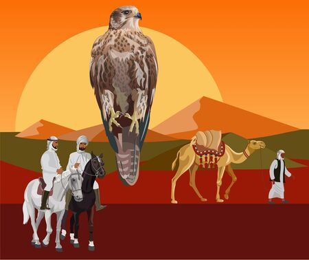 Falcon on a background of sunset in the desert with camel and arab riders. Vector illustration in realistic style Vectores