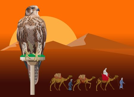 Falcon perching on a desert landscape background with caravan of camels. Vector illustration in realistic style