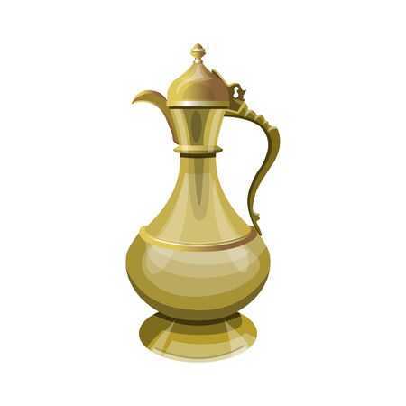 Traditional eastern coffee pot, jug, dallah, aftaba. Vector illustration isolated on white background