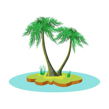 Cartoon tropical island with two coconut palm trees among the sea. Vector illustration isolated on white background
