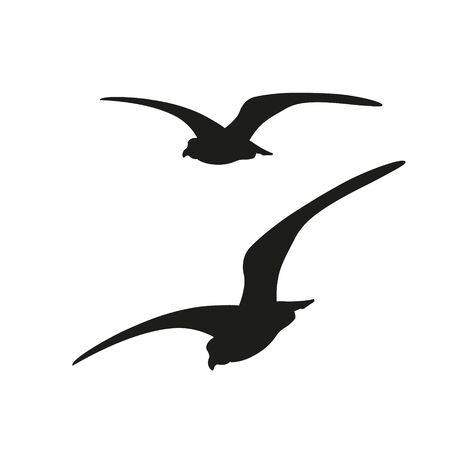 Silhouette of flying seagulls. Vector illustration isolated on white background
