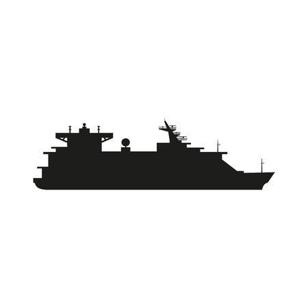 Silhouette of large cruise ship. Vector illustration isolated on dark background