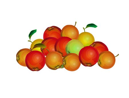 Bunch of red ripe apples. Vector illustration isolated on white background.