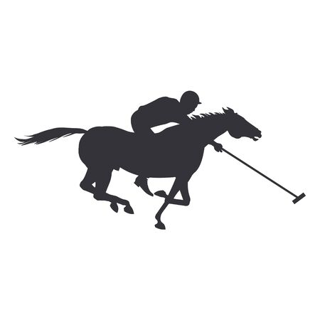 Polo rider horse. Black silhouette of a galloping rider. Vector illustration isolated on white background