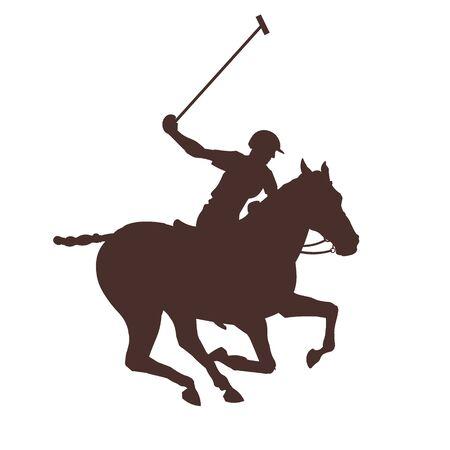 Pferdepolospieler. Schwarze Silhouette eines galoppierenden Reiters. Vektor-Illustration isoliert auf weißem Hintergrund