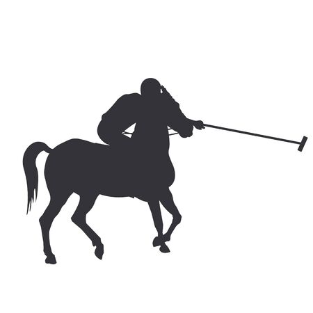 Horse polo player. Black silhouette of a rider holding a stick. Vector illustration isolated on white background Ilustrace