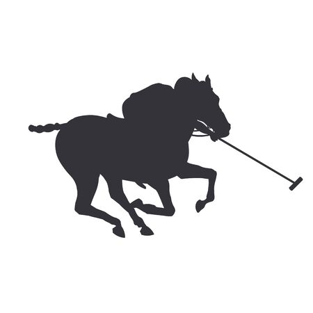 Polo rider horse. Black silhouette of a galloping player. Vector illustration isolated on white background Ilustrace