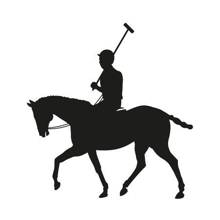Caballo jinete de polo. Silueta negra de jugador sosteniendo un mazo. Ilustración de vector aislado sobre fondo blanco.