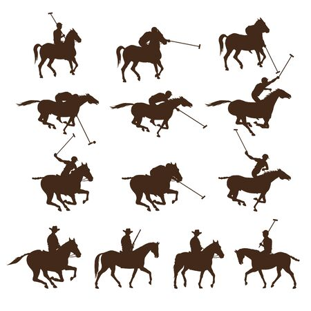 Set of horse polo players. Images of riders silhouettes. Vector illustration isolated on white background Ilustrace