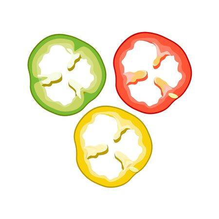Multicolored sliced bell pepper - red, green and yellow. Vector illustration isolated on white background
