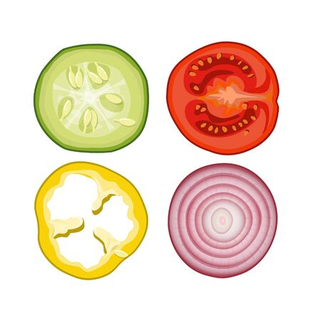 Sliced rings of vegetables - cucumber, tomato, pepper and onion. Top view. Vector illustration isolated on white background