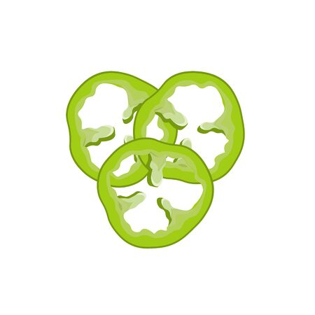 Bell green pepper sliced rings. Vector illustration isolated on white background