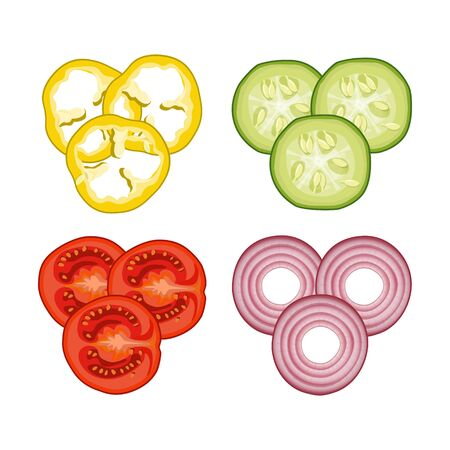 Sliced vegetables images - cucumber, tomato, pepper and onion. Top view. Vector illustration isolated on white background Ilustrace