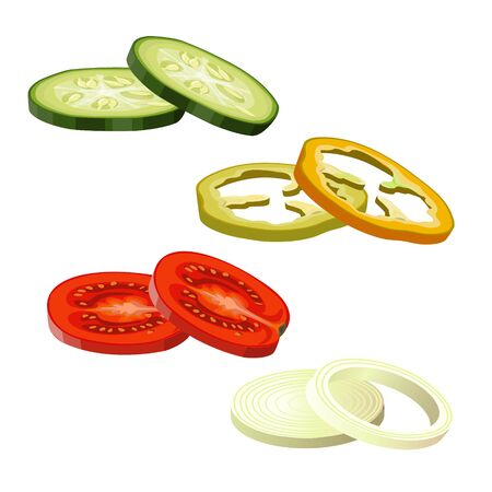 Sliced vegetables images - cucumber, tomato, pepper and onion. Vector illustration isolated on white background Ilustrace