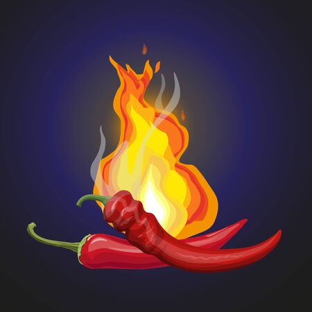 Two hot red chili peppers with burning flames. Vector illustration isolated on dark blue background Ilustrace