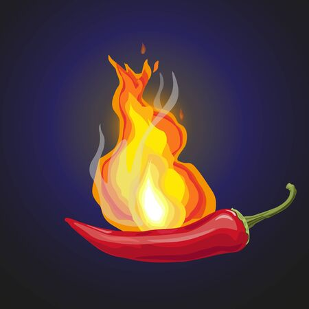 Hot red chili pepper with burning flames. Vector illustration isolated on dark blue background