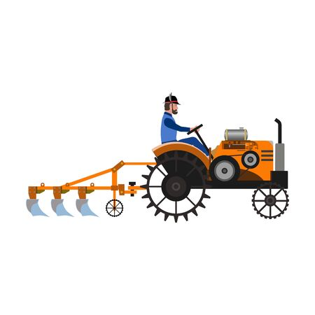 Farmer plow the land with an old tractor. Vector illustration isolated on white background Ilustrace