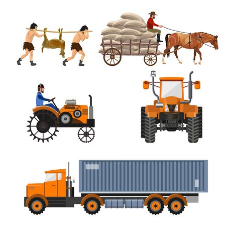 Vehicle history. Transportation evolution. Vector illustration isolated on white background