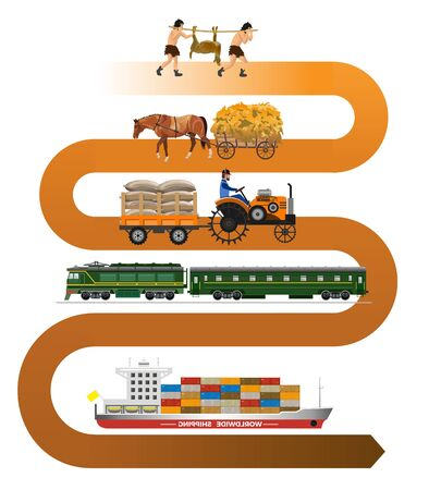 History of transportation. Transportation evolution. Vector illustration isolated on white background