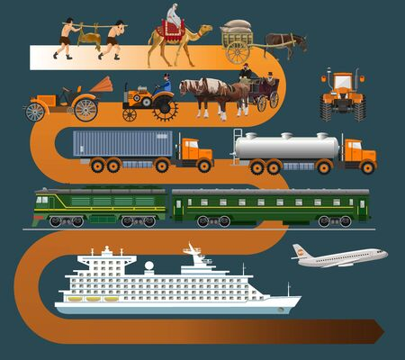Transport and vehicles evolution. History of transportation. Vector illustration isolated on dark background