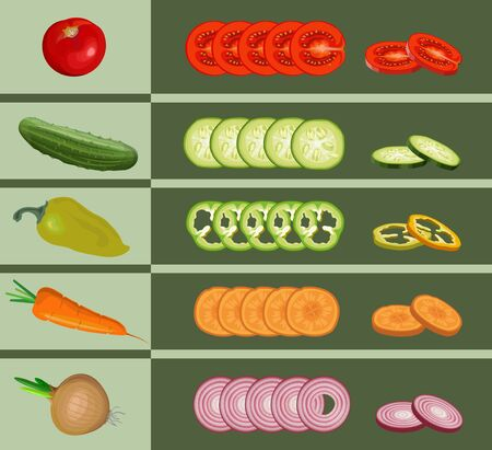 Set of various whole and chopped vegetables. Tomato, pepper, cucumber, onion and carrot. Vector illustration isolated on green background Ilustrace