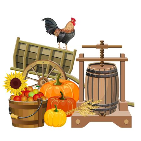 Autumn rural still life with wooden cart, cider press, pumpkins, apples and rooster. Vector illustration isolated on white background Ilustrace
