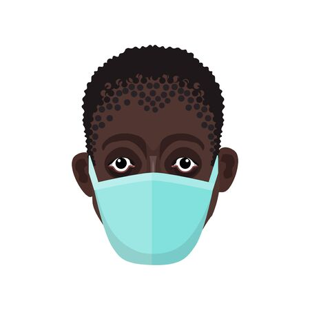 Face of african man in protective medical mask. Vector illustration isolated on white background 矢量图像