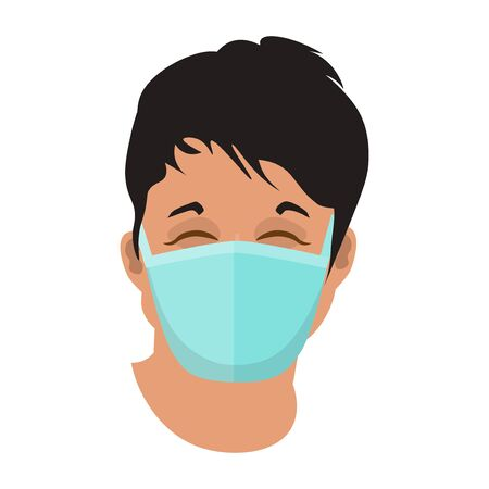 Face of asian man in protective medical mask. Vector illustration isolated on white background 矢量图像