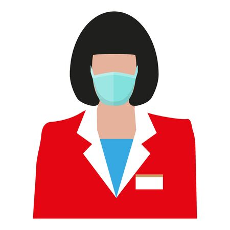 Icon woman wearing uniform and medical mask. Vector illustration isolated on white background 矢量图像