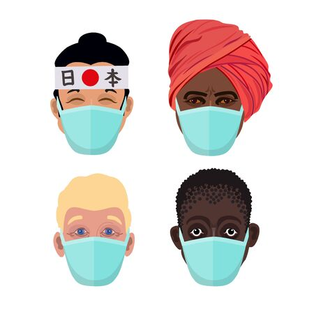 Faces of people of different nationalities in protective medical masks. Medicine, healthcare, epidemic, virus, warning, protect. Vector illustration isolated on white background