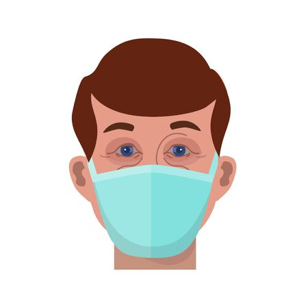 Face of man in protective medical face mask. Vector illustration isolated on white background 矢量图像