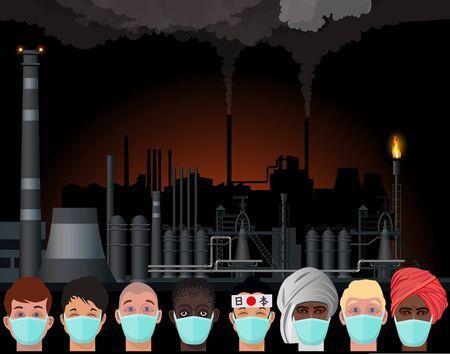 People in protective face masks on the background of an industrial landscape with polluted air and industrial smog. Illustration