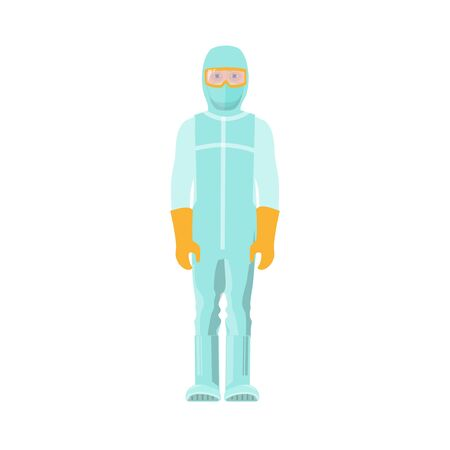 Man in protective medical suit with mask and gloves. Vector illustration isolated on white background