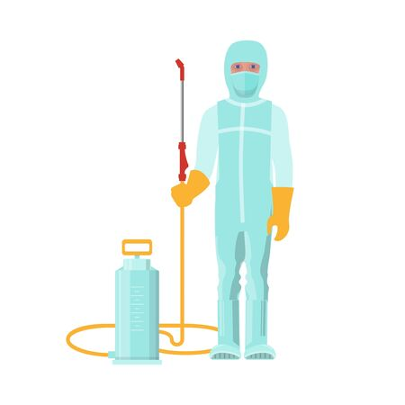 Man in protective medical suit with disinfecting sprayer. Vector illustration isolated on white background
