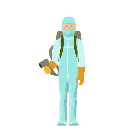 Man in protective medical suit with spray gun. Vector illustration isolated on white background