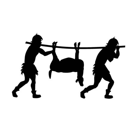 Silhouettes of primitive people return from hunting with prey. Vector illustration isolated on white background