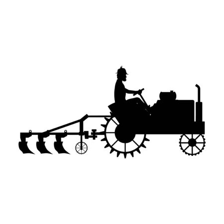 Silhouette of farmer plow the land with an old tractor. Vector illustration isolated on white background Illustration