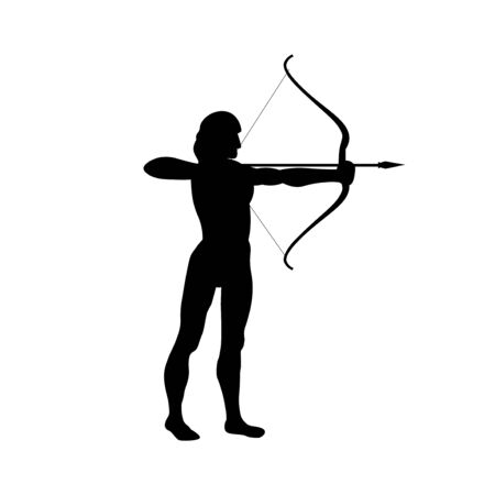 Silhouette of aiming archer with bow and arrow. Vector illustration isolated on white background