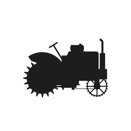 Vintage farm tractor silhouette. Vector illustration isolated on white background