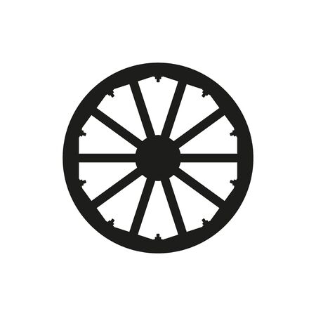 Silhouette of wooden wheel. Vector illustration isolated on white background 矢量图像