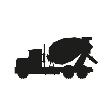 Silhouette of concrete mixer truck. Vector illustration isolated on white background