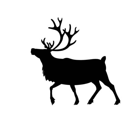 Silhouette of walking caribou reindeer. Vector illustration isolated on a white background
