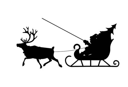 Silhouette of Santa Claus in his christmas sled pulled by reindeer. Vector illustration isolated on white background