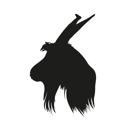 Silhouette of portrait of the goat head in profile. Side view. Vector illustration isolated on white background