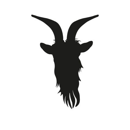 Goat head silhouette front view. Vector illustration isolated on white background