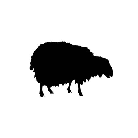 Black silhouette of sheep. Vector illustration isolated on white background