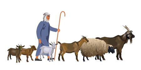 Shepherd with a herd of goats and sheep. Vector illustration isolated on white background 矢量图像