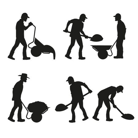 Set of construction workers silhouettes with wheelbarrows and shovels. Vector illustration isolated on white background Illustration