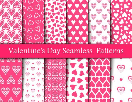 Twelve Valentine's Day Pink Seamless Vector Patterns.Backgrounds Textures in Pink and White Hearts Vektorové ilustrace