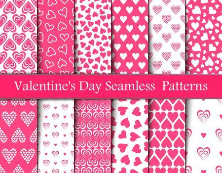Zwölf Valentinstag rosa nahtlose Vektormuster. Hintergründe Texturen in rosa und weißen Herzen Vektorgrafik
